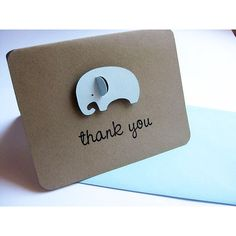 Baby Shower Thank You Cards, Elephants found on Polyvore