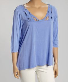 This Periwinkle Lace Three-Quarter Sleeve Top - Plus by Fresh Produce is perfect! #zulilyfinds