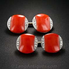 French Art Deco Coral and Diamond Cuff Links