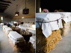 Hay bale seating - add a piece of foam to the top then cover with burlap