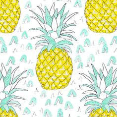 Watercolor Pineapple Fabric - Watercolor Pineapple By Emilysanford - Modern Pineapple Summer Cotton Fabric By The Metre With Spoonflower Pineapple Fabric, Pineapple Print, Pop Art Wallpaper, Room Wallpaper, Hawaiian Theme, Double Gauze Fabric, Vintage Fabrics, Paper Background, Fabric Swatches