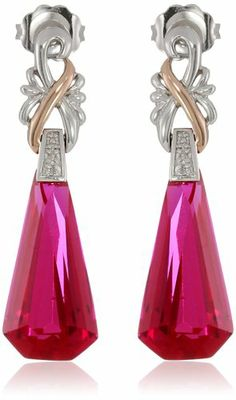 S&G Sterling Silver and 10k Rose Gold Special Cut Created Ruby with Diamond Accent Drop Earrings: Jewelry