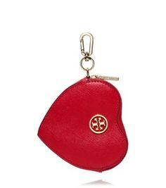 You hold the key to my wristlet | Tory Burch Robinson Heart Zip Key Fob