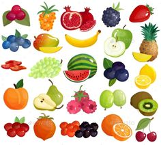 Buy Fruits Berries Colorful Icons Collection by macrovector on GraphicRiver. Fresh seasonal farmer market berries tropical and mediterranean delicious fruits colorful big icons collection isolat. Free Fruit, Fruit And Veg, Fruits And Veggies, Vegetables, Stickers Cool, Diy Cadeau Noel, Fruit Icons, Fruits Drawing, Colorful Fruit