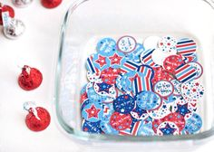 4th of july party decorations Printable hershey kiss by Juissip