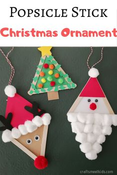 Are you looking for easy Christmas crafts for kids to make with popsicle sticks? There are three Omament ideas kids will love making with popsicle sticks including Santa, Christmas tree and reindeer. Popsicle Stick Christmas Crafts, Stick Christmas Tree, Preschool Christmas Crafts, Easy Christmas Ornaments, Christmas Crafts For Kids To Make, Christmas Ornament Crafts, Xmas Crafts, Craft Stick Crafts, Kids Christmas