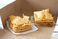 "Peanut ""baklava"" made with layers of filo dough, peanut butter, and honey"