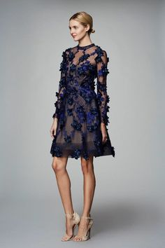Marchesa Notte Navy Long Sleeve 3D Floral Party Cocktail Dress | Poshare