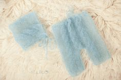 Lace pant set  Silk Mohair Newborn photo prop Baby Blue by Lulloo, $48.00