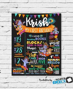 Krishna (Kisna) Hindu God Birthday Stats Milestone Chalkboard / Banner / Poster for Birthday Boy- Any Age Chalkboard Banner, Chalkboard Poster, Birthday Chalkboard, Baby's First Birthday Gifts, Baby Boy Birthday, First Birthdays, Jungle Theme Birthday, 1st Birthday Party Themes, Birthday Decorations