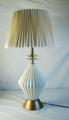 Mid Century Modern Eames Era White Ceramic Table Lamp With Shade Atomic Age
