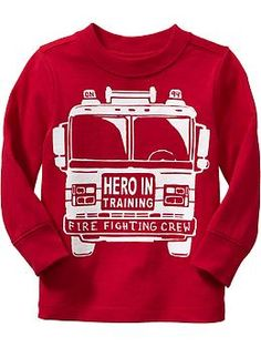 Fire Truck Tee - Hero in Training. . . .Brandon and I are going to see if they have his size in this today . . . he definitely needs this. :)