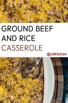 An easy family favorite. Ground beef is mixed with onion soup mix, cream of mushroom soup, onion, and rice and baked in a casserole dish until done.| CDKitchen.com