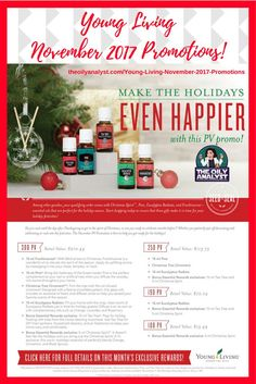 Young Living's November 2017 Promotions! Click this graphic! Ready to Join? Go to www.theoilyanalyst.com/essential-oils today! | Young Living | Essential Oils | Freebies | Promotions | Promos | Christmas Spirit | Tea Tree | Eucalyptus Radiata | Christmas Ornament | Frankincense | The Oily Analyst