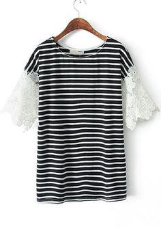 Black Contrast Lace Short Sleeve Loose T-Shirt - Sheinside.com