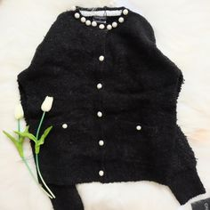 Chanel Pearl Batwing Sleeve Cardigan Material from cotton. Measurements length 58cm; bust 102cm; sleeve 57cm, shoulder 40cm. Zara Sweaters Cardigans