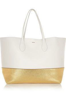 ROCHAS Two-tone textured-leather tote.love the simplicity White Leather, White Gold, Fashion Bags, Fashion Accessories, Purses And Handbags, Tote Bag, My Style, Gold Dipped, Clutches