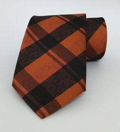 Ginger and Black Plaid Mens Tie 8 cm (3,15 #handmadeatamazon #nazodesign