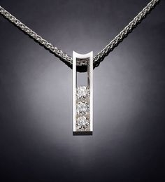 white sapphire necklace, wedding necklace, diamond substitute, brilliant necklace, holiday necklace, Argentium silver, tension set  - 3503