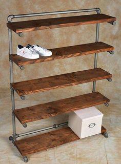Easy diy pipe shelves ideas on a budget Diy Shoe Rack, Shoe Rack Pallet, Homemade Shoe Rack, Cheap Shoe Rack, Wood Shoe Rack, Garage Shoe Rack, Rustic Shoe Rack, Build A Shoe Rack, Shoe Rack Closet