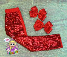 Girls red sequin leggings red pants back to by AKidsDreamBoutique