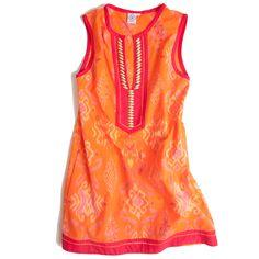 Sheridan French 'Andrika' beaded dress in orange - hand-woven Ikat. $425.00