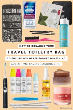 How to pack and organize your travel toiletry bag to ensure you never forget something! My 1 time-saving packing tip. Usa Travel, Best Travel Tote, Packing List For Travel, Luxury Travel, Travel Toiletry Bag, Travel Bag, Smart Packing, Vacation Packing, Travel Gifts