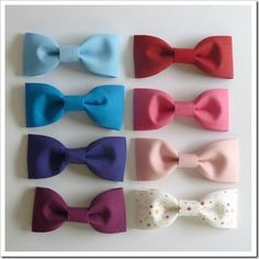 OMG, these are so easy to make. Great for a hair clip, pony tail holder or even a bow tie. These are also great for a saturday afternoon craft with the kids.