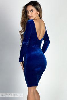 """""""Addison"""" Royal Blue Scoop Neck Long Sleeve Velvet Dress"""