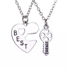Couple Necklace Friendship Heart Key Set Silver Plated