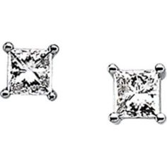 14k White Gold Earrings, Princess Cut Diamond Studs = ONE CARAT! The Diamonds are well matched, FINE G Color and I1 Clarity. This pair of Diamond Studs has LOTS of Sparkle.