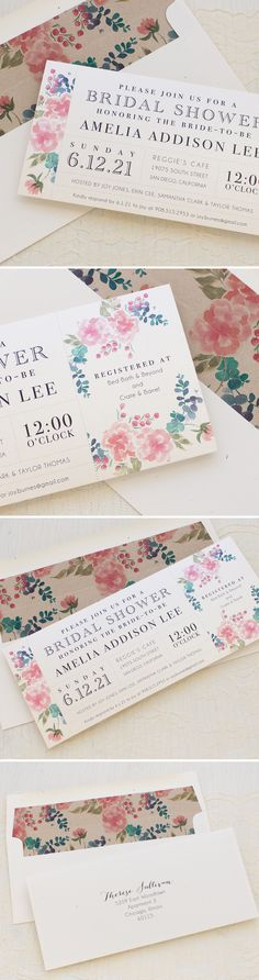 Spring Floral Bridal Shower Invites with matching envelope liners!