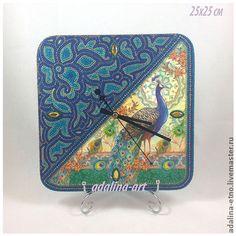 САПФИРОВЫЙ ПАВЛИН часы интерьерные - часы,часы настенные,часы интерьерные