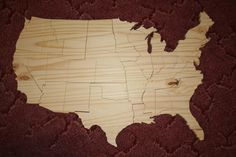 Unfinished Wooden United States Puzzle by NightOwlEngravingLLC