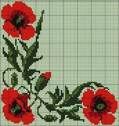 "Lovely little things: Embroidery cross: ""Poppies. … Lovely little things: Embroidery … - Tiny Cross Stitch, Cross Stitch Borders, Cross Stitch Flowers, Cross Stitch Charts, Cross Stitch Designs, Cross Stitching, Cross Stitch Embroidery, Hand Embroidery, Cross Stitch Patterns"