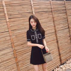 South Korea chic wind black stitch lapel dress female summer new high waist was thin temperament package hip A skirt
