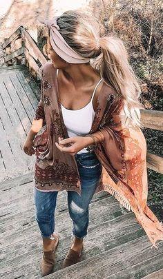 #kimono to complete the look..., #bohostyle #complete #kimono Mode Outfits, Stylish Outfits, Fashion Outfits, Womens Fashion, Ladies Fashion, Fashion 2018, Jeans Fashion, Woman Outfits, Fashion Brands