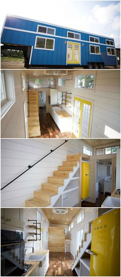 Custom Gooseneck is a stunning tiny house built by Nomad Tiny Homes for a family of five moving to Oregon. The tiny house has a 7′ deck over neck, allowing for over 330 sq.ft. of living space. The kitchen features complete with a wall oven, SMEG refrigerator, dishwasher, and 24″ farmhouse sink. Energy saving materials include spray foam insulation, low-e vinyl windows, and an 18,000 BTU mini-split heat pump. Bunk beds with trundle for the three kids are in the gooseneck. #fivesmartdiy