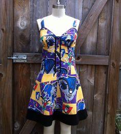 Batman Comic Pin Up Dress- OOAK Recycled Etsy Summer 2013