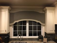 Window treatment for kitchen .....used fabrics from great room  to tie it all together