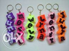 Felt Crafts, Diy And Crafts, Felt Keychain, Felt Name, Key Rings, Key Chain, Embellishments, Bullet, Personalized Items