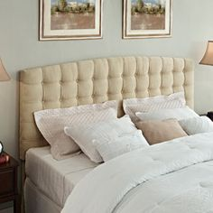 This tufted headboard was a good match for our white pintuck bedding - and quite a steal at $200 for a king-size.