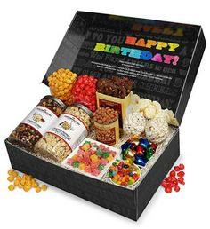Say It In Color Snacker's Choice Gift Box - Happy Birthday Snacker Choice Box from The Popcorn Factory on Catalog Spree, my personal digital mall. Baking Packaging, Food Packaging Design, Diwali Gift Hampers, Triple Chocolate Cookies, Popcorn Gift, Bakery Business, Wedding Gift Boxes, Snack Box, Food Gifts