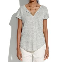 Madewell Gray Linen Bikelane Tee Gently worn, thin and breathable linen but very good quality (typical Madewell quality) Madewell Tops Tees - Short Sleeve