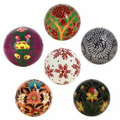 These decorative christmas balls and paper maches (paper pulp) are locally known as kar-e-kalamdani, pen case work. This name has been derived from its traditional Iranian name.