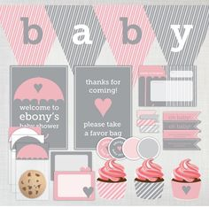 Printable DIY Baby Shower Party Decoration Pack featuring Umbrella in pink and gray / grey. $30.00, via Etsy.