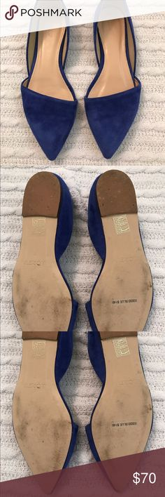 J. Crew Sloan D'orsay Flats in cobalt blue size 7 An open d'Orsay flat in suede finished with a sloping, asymmetrical toe. These are lightly used and will not come with a box. Size 7. J. Crew Shoes Flats & Loafers