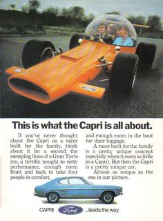 """vintage everyday: """"The Car You Always Promised Yourself"""" – 19 Fascinating Ford Capri Ads from the 1960s and 1970s"""