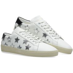 Saint Laurent SL06 Star Court Sneaker (180 KWD) ❤ liked on Polyvore featuring shoes, sneakers, yves saint laurent, silver shoes, silver sneakers, silver trainers and white shoes