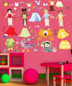 Princess Wall Decal Set.  Like paper dolls on the wall.  So much better than picking up Barbies and all those tiny accessories.